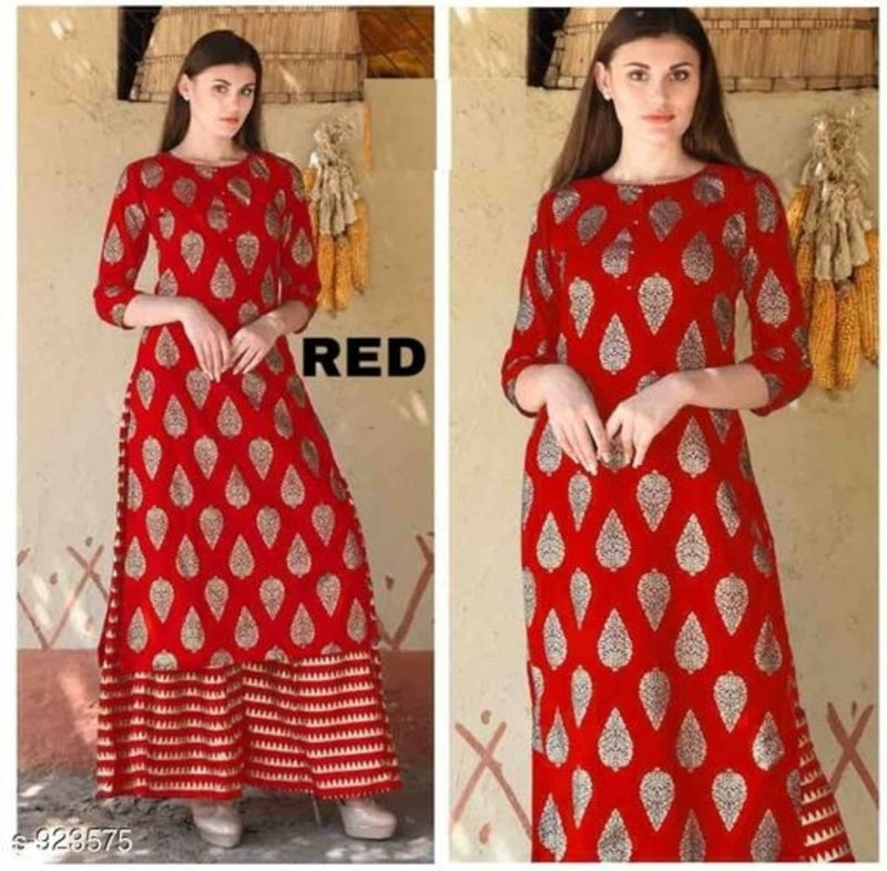 gh4001v01, Long Kurti & Palazzo Set, Red Colour