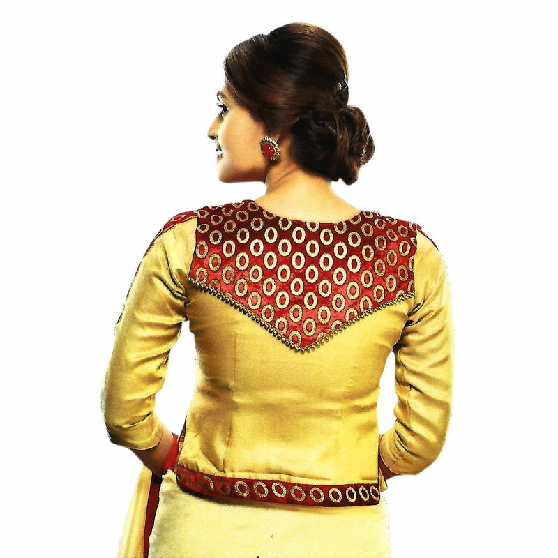 Jacket style padded 3/4 sleeves shimmer fabric sari blouse