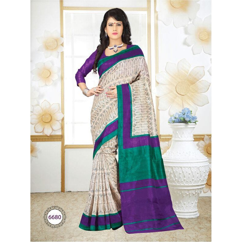 lsm6680, Casual Use Designer Art Silk Saree with Unstitched Blouse Piece