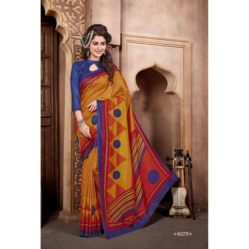 MALGUDI4375, Casual Use Designer Art Silk Saree with Unstitched Blouse Piece