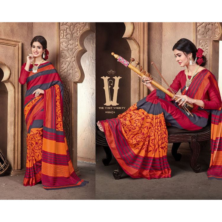 MALGUDI4552, Casual Use Designer Art Silk Saree with Unstitched Blouse Piece