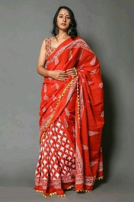 ms20200815_01, Bollywood Style Cotton Mulmul Saree with Unstitched Blouse Piece