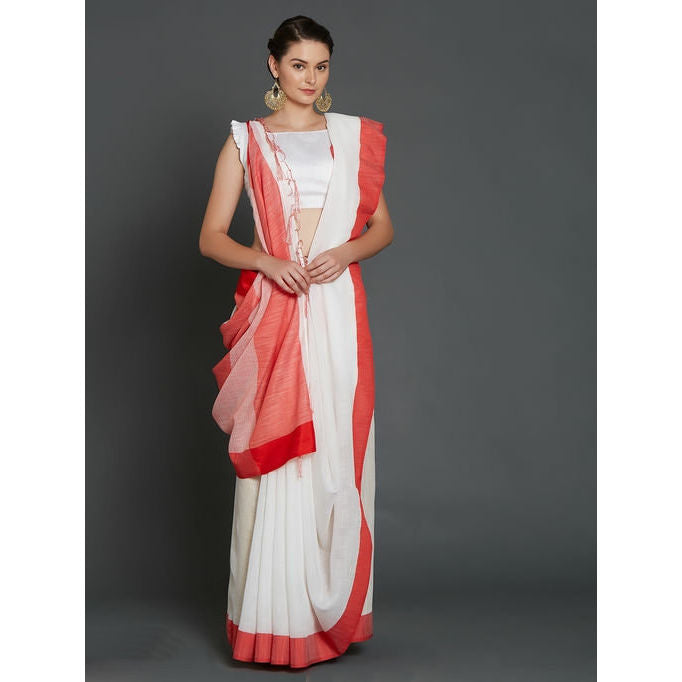 Premium Linen Cotton Bengali White Saree & Red Border with Running Blouse Piece