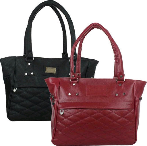 Designer PU Leather (Artificial Leather) Ladies Handbag (Pack of 2)