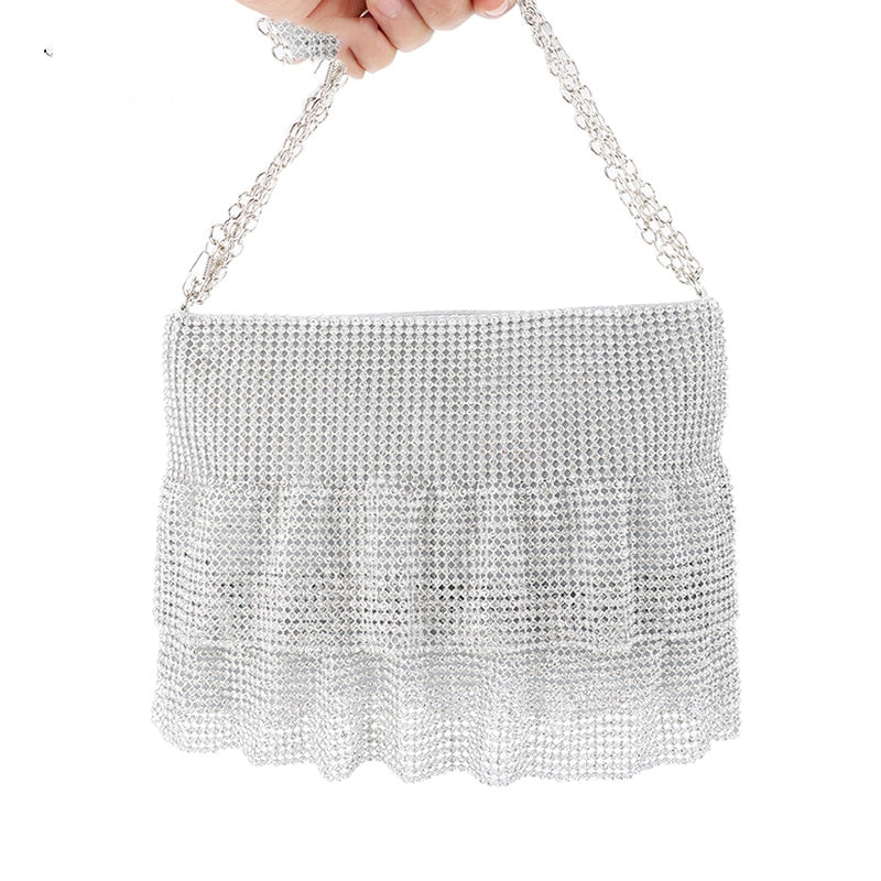 Carrysparks Elegant Bejeweled Rhinestone Bucket Bag