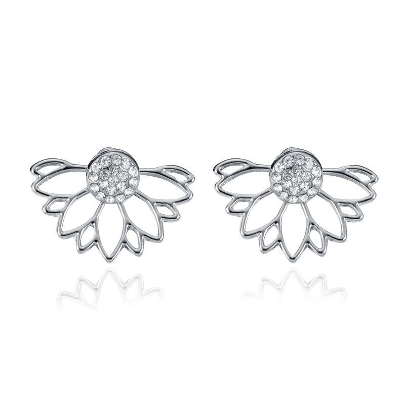 Spakleshell Crystal Jacket Flower Earrings