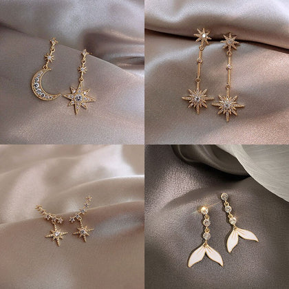Sparkleshell Crystal Star Butterfly Mermaid Earrings