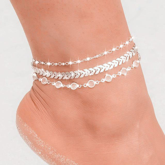 Sparklywrists Chevron and Crystals Anklets