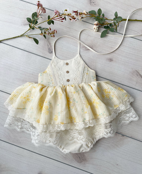 Size 2/3 Light Yellow Skirted Romper