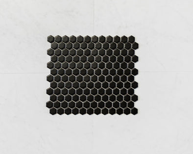 Hexagon Black Matt Mosaic
