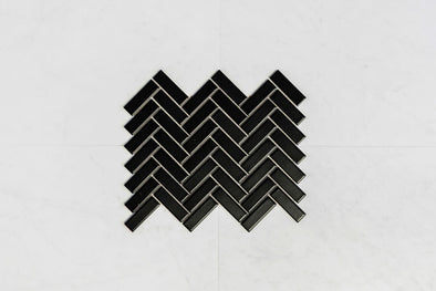 Herringbone Black Matt Mosaic