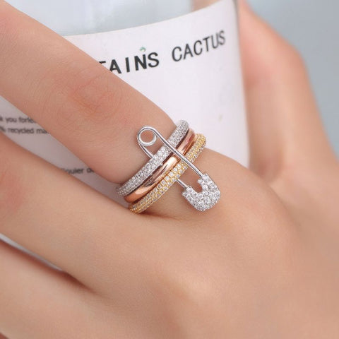 Wide Silver Finger Rings Set For Women Safety Pin Design Ring Band Cubic Zircon Ring Pave Setting Female Fashion Jewelry Women