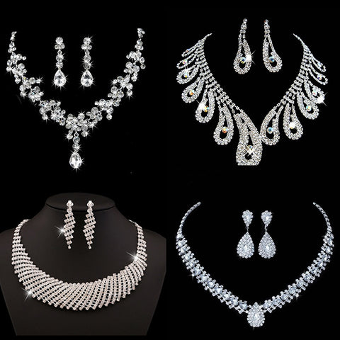 9 Styles Bridal Jewelry Sets for Women Silver Color Costume Jewelry Necklace Earrings Clear Crystal Stones Bridesmaid Acessories