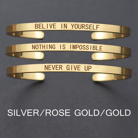 "Churchill Quote ""Never Give Up""Motivational Stainless Steel Engraved Bracelets Life Quote Jewelry Graduation Bangle Gifts"