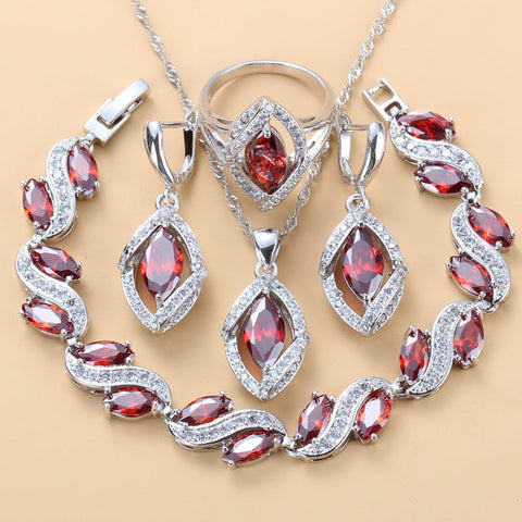 Manny & Della 5PCS Bracelet/Earrings/Pendant/Necklace/Ring Hot Sell Silver 925 Fashion Wedding Red Garnet Jewelry Sets JS236