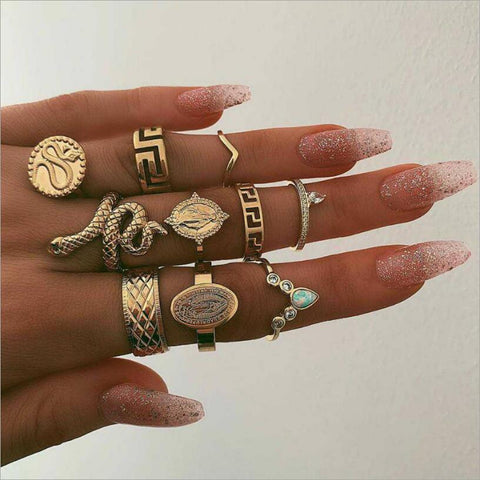 10-piece women rings wedding ring set womens rings jewelry punk snake ring natural stone statue Buddha bohemian 's ring anillos