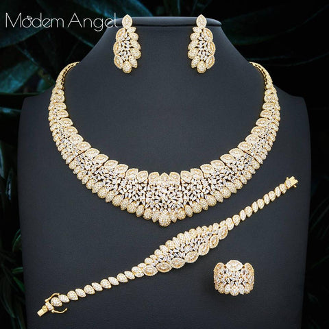 ModemAngel Nigeria 4pcs Bridal Zirconia Jewelry Sets For Women Party, Luxury Dubai Nigeria CZ Crystal Wedding Jewelry Sets