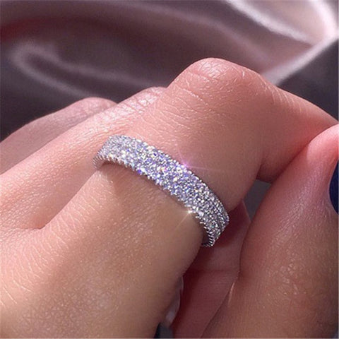 VAGZEB 925 Sterling Silver Simple Ring Three Row Crystal Ring Jewelry for Woman Fashion Bridal Ring Lady New Party Gift