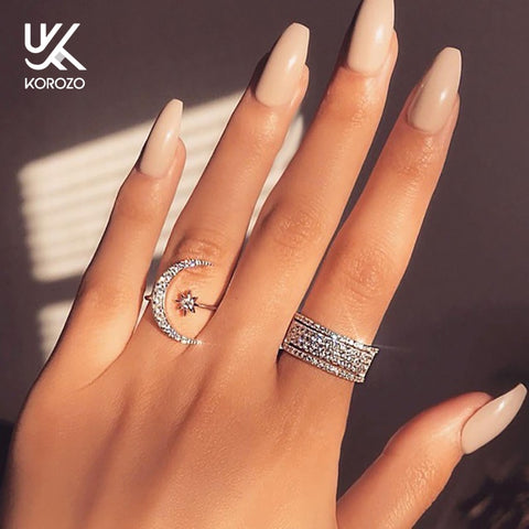 New Korean Ring Moon & Star Dazzling Zircon Crystal Rings for Women Open Finger Ring Wedding Engagement Jewelry Gift