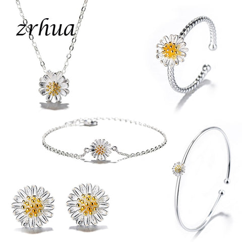 925 Sterling Silver Jewelry Sets for Women Flower Pendant Necklace Earrings Ring Bracelet Bangle Elegant Engagement-Gifts