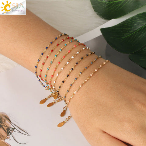 CSJA Stainless Steel Chain Bracelets Bangles for Woman  Gold Color Link Miyuki Femme Beads Bracelet  2019 Jewelry Pulseira S570