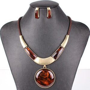 MS20129 Fashion Brand Jewelry Sets Round Pendant 5 Colors Faux Leather Rope High Quality Wholesale Price Party Gifts