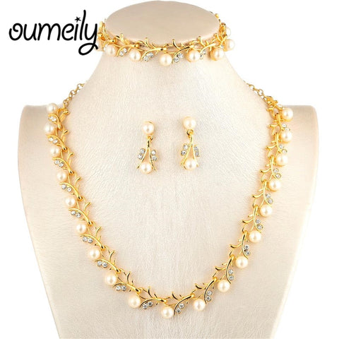 OUMEILY Bridal Wedding African Beads Jewelry Set For Women Simulated-Pearl/Crystal Indian Jewelry Sets Gold Color Jewellery