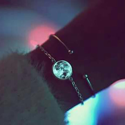 Birth Moon Bracelet Glow In The Dark Moon Phase Silver Chain Bracelet Glowing Birthday Moon Jewelry Lunar Phase Bracelets Charm