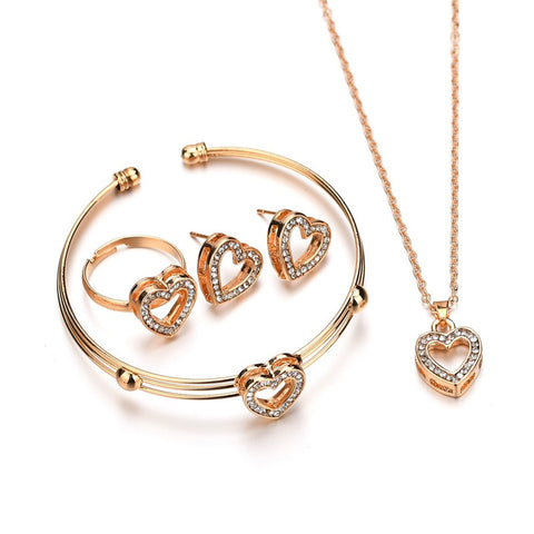4 pcs Cute Heart Shaped Bracelet Neclace Earrings Sets Jewelry Crystal Kid Children Lovely Gold Color Jewelry Sets for Girl