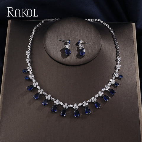 RAKOL Dubai Luxury AAA Cubic Zircon Water Drop  Wedding Earrings necklace For Women Bridal Jewelry Sets Blue Party Accessories