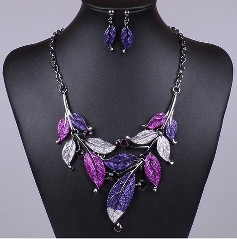 Purple Jewelry Sets Enamel Leaf Statement Necklace Earring Set Crystal Jewelry Set Fashion Green Leaves Nickel Free