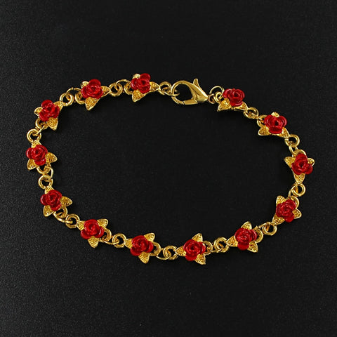 Rose Leaf Bracelet Red Rose Leaf Bracelet Flower Alloy Design String Bracelet Jewelry