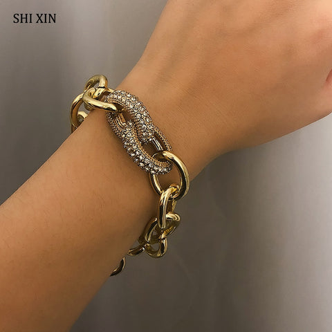 SHIXIN Punk Cuban Link Chain Gold/Silver Bracelet Bangle Luxury Charm Bracelet for Women/Girl Crystal Bracelet Boho Hand Jewelry
