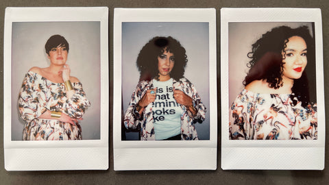 Mayes NYC 3 polaroids of different women wearing our signature crane print