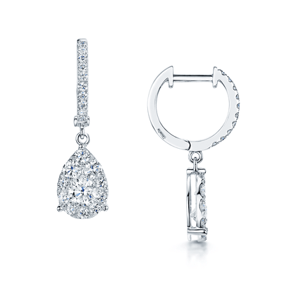 Gorgeous 10K White Gold .25ctw Pear Shaped Diamond Drop Earrings NOW $272