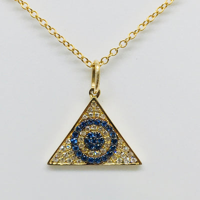14K Yellow Gold Evil Eye Sapphire & Diamond Necklace