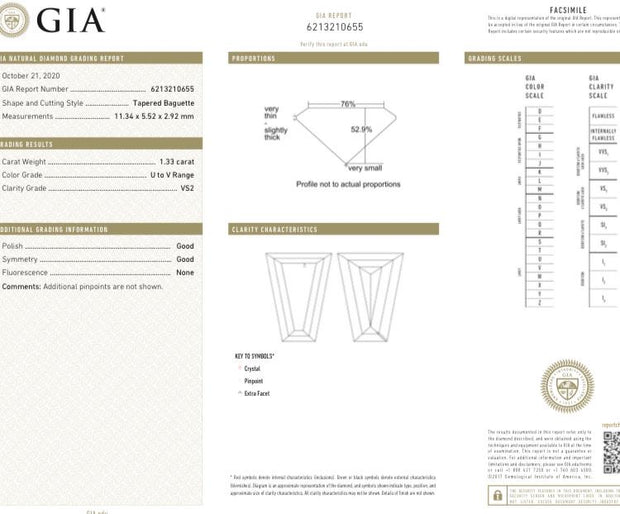 GIA Certified 1.33CT U VVS2 Baguette Cut Diamond