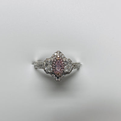 GIA Certified 18K White Gold Fancy Pink Diamond Ring