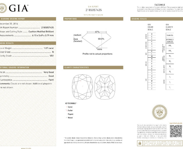 GIA Certified 1.07CT Cushion N VS1 Diamond
