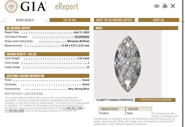 GIA Certified 1.23 Carat Marquise Diamond Engagement Bargains