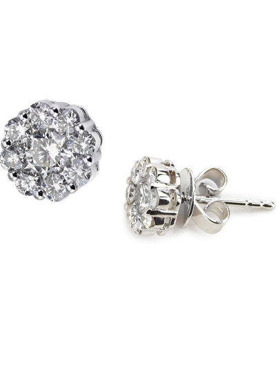 Classic .50 Carat Total Diamond Floral Studs In White Gold