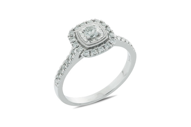 Gorgeous 0.40CT T.W. Halo Diamond Engagement Ring in White Gold Now $349