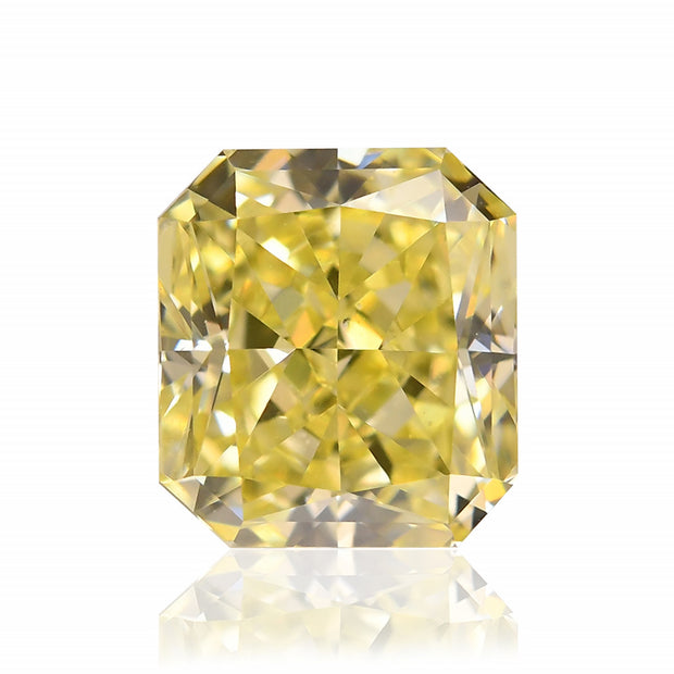 GIA Certified 0.98CT Fancy Intense Yellow SI2 Radiant Cut Diamond