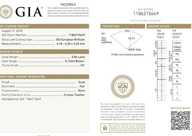 GIA Certified 0.84CT K SI1 Old European Loose Diamond