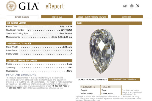 GIA Certified 0.94CT M I1 Pear Shape Natural Loose Diamond