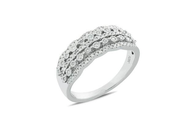 Gorgeous 1/4 CT. T.W. Diamond Five Row Cocktail Band in White Gold Now $299