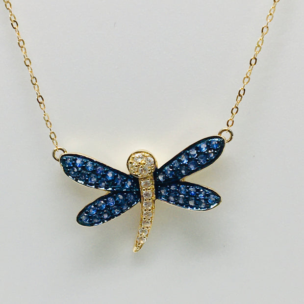 14K Yellow Gold Diamond & Sapphire Dragonfly Necklace