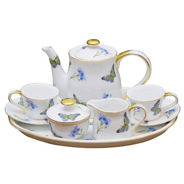 Blue Butterfly 10pc Kids Tea Set