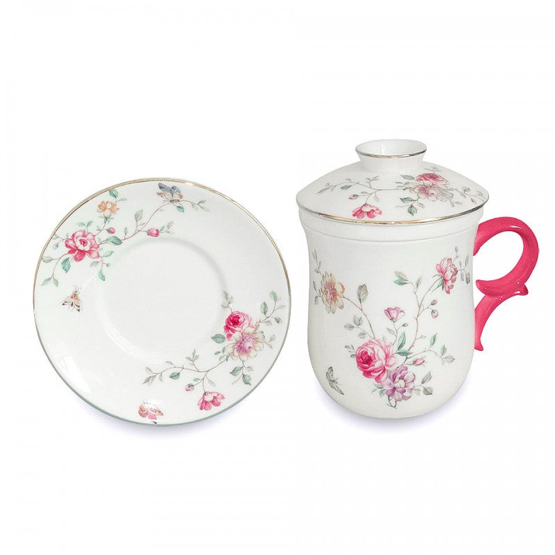 Purple Floral 4 Piece Tea for Me Set