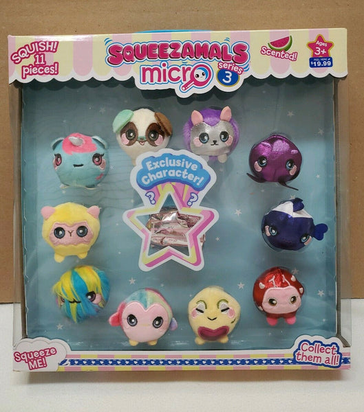 Squeezamals Micro Plush 'Series 3' - 10-Pack - (Styles/Assortments Vary)